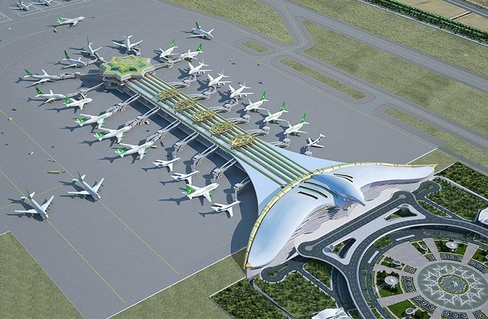 «Летящий сокол» - новый строящийся аэропорт в Ашхабаде (Туркменистан).