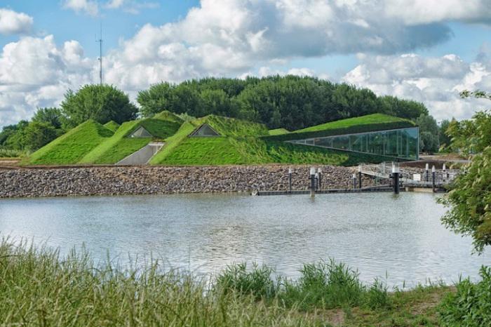 Музей Biesbosch в виде зеленых холмов.