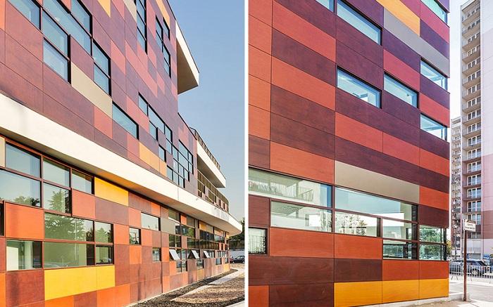 Разноцветные панели, напоминающие мозаику.