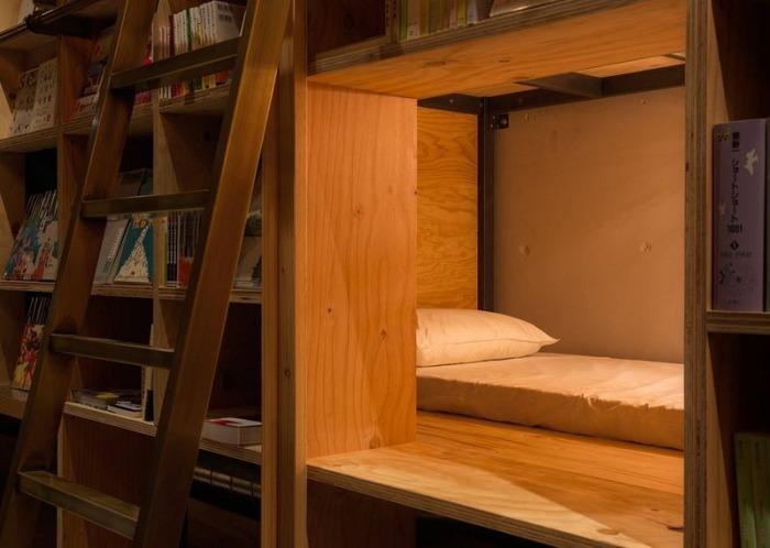 Спальное место по соседству с книжными полками.