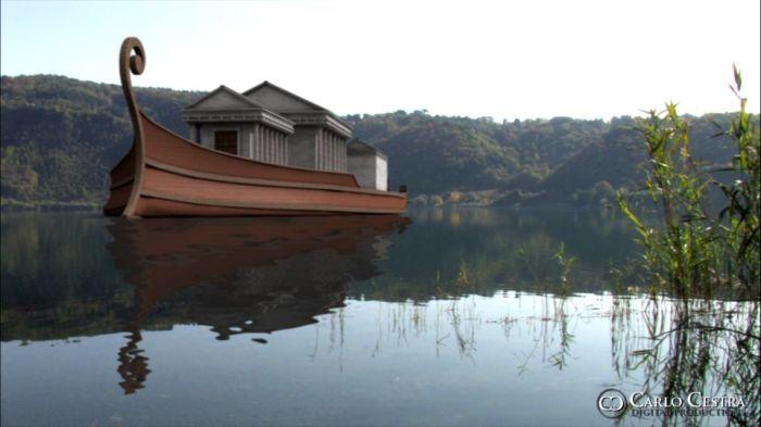 Один из кораблей озера Неми.| Фото: pinterest.com.