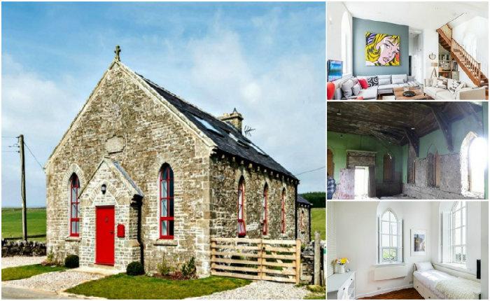 Дом, перестроенный из старинной церкви.