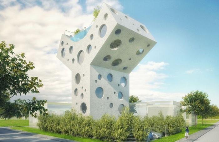 Y House - концепт футуристической виллы с бассейном на крыше.
