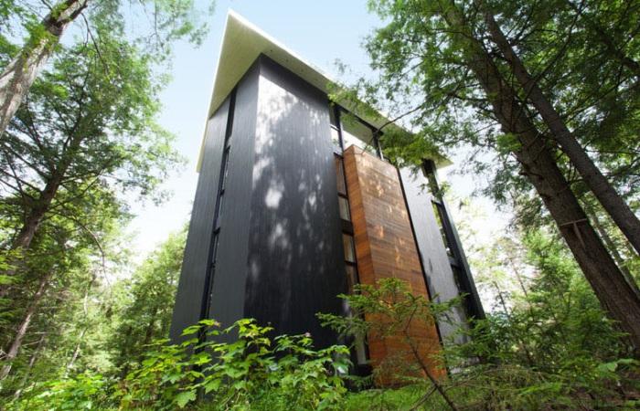 Фасад дома, выполненный из древесины кедра и сосны.