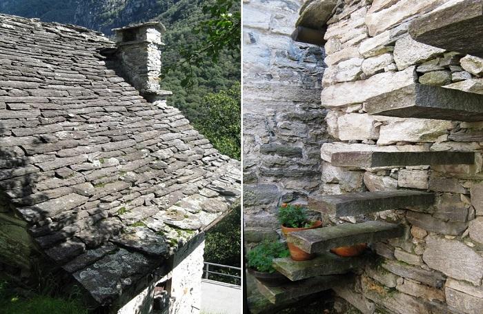 У домов каменные крыши и каменные ступени.