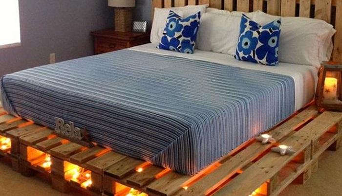 Примеры необычных кроватей из поддонов, которых несложно сделать своими руками.