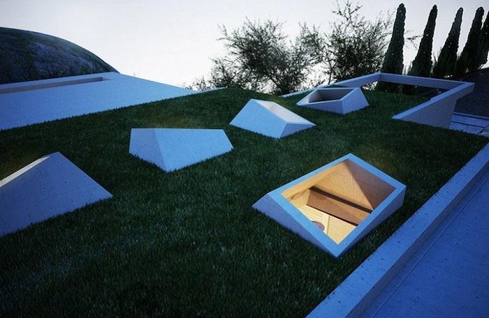 Earth House - проект жилого дома, интегрированного в земляной массив.