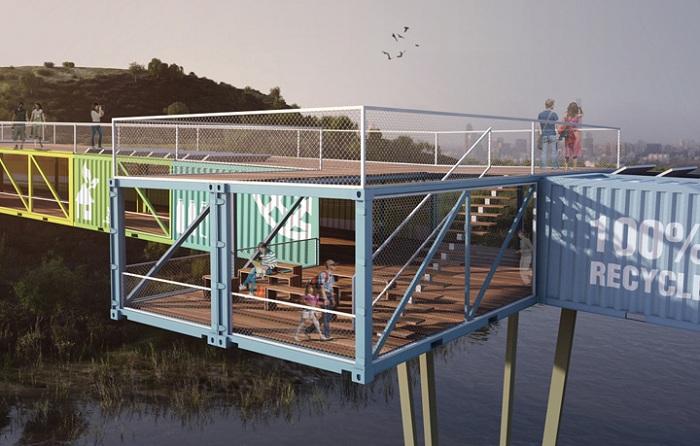 Мост, который построят из морских контейнеров.