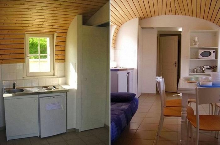 Интерьер в современном доме с крышей-лодкой.