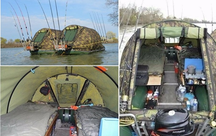 Палатки на надувных лодках - отличный вариант для заядлых рыбаков.