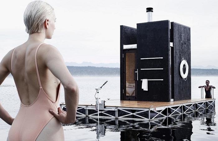 Wa_sauna - плавучая сауна на озере.