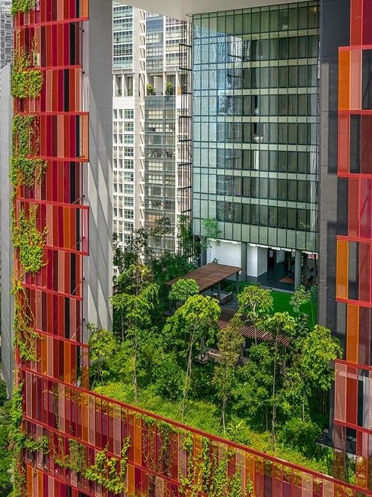 Оasia Hotel Downtown  - площадки между этажами, засаженные растениями.