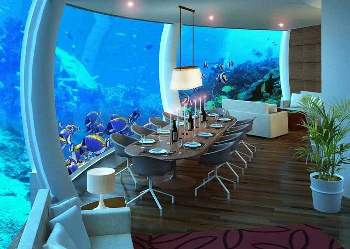 Подводный ресторан в отеле Poseidon Undersea Resort. | Фото: etotam.com.