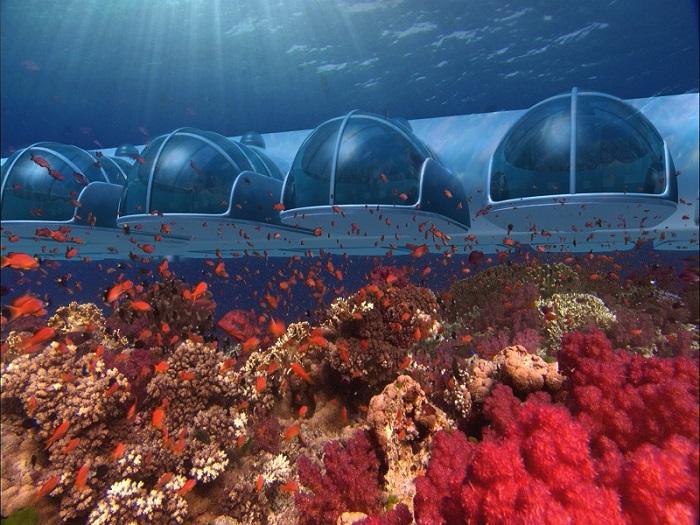 Номера подводного отеля в архипелаге Фиджи.