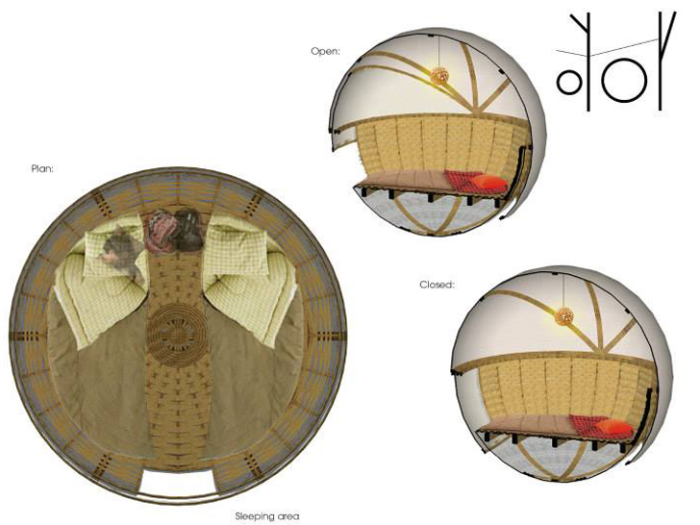 Spherical eco-lodge. Внутреннее устройство сферического жилища.