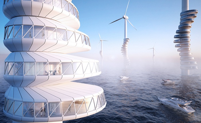 Концепт жилищ, установленных на ветряках.