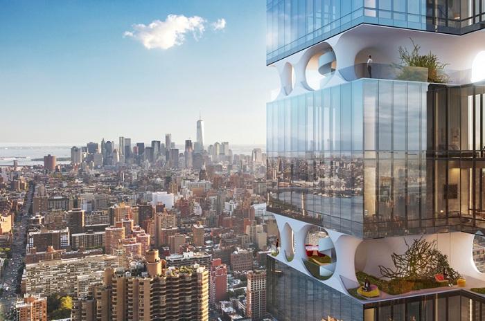 Проект жилой башни с зелеными террасами между этажей.