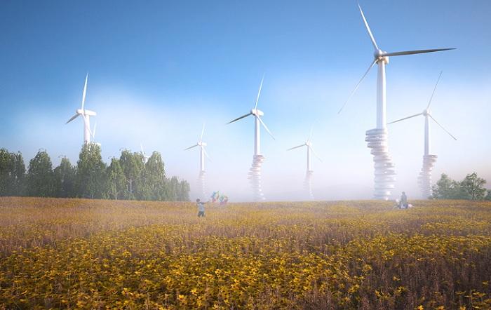 Концепт парков из ветрогенераторов с жилыми капсулами.