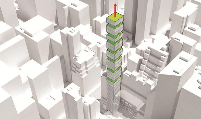 Концепт башни со сквозными зелеными террасами.