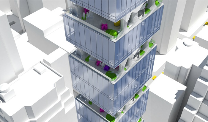 Схема расположения зеленых террас в будущем небоскребе.