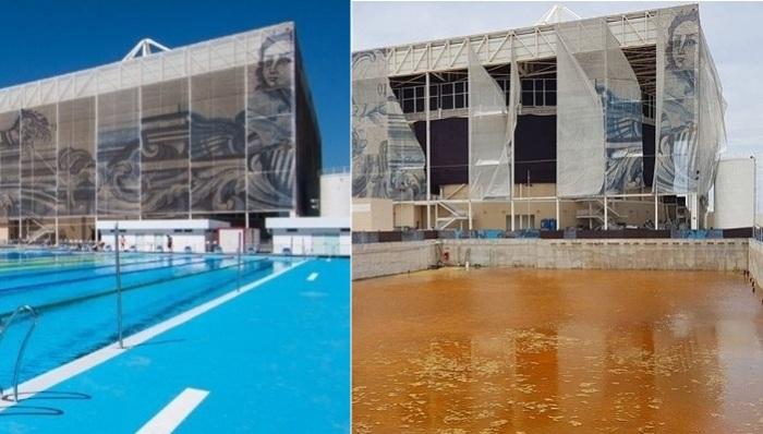 Олимпийский бассейн в Рио-де-Жанейро в во время проведения Игр и через 6 месяцев.
