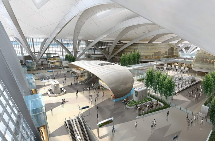 Терминал с 50-метровым арочным сводом.