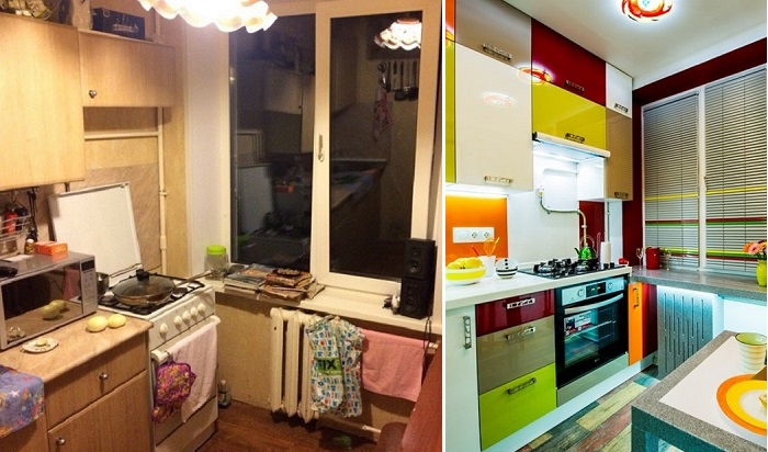 Кухня в «хрущевке» до и после ремонта.