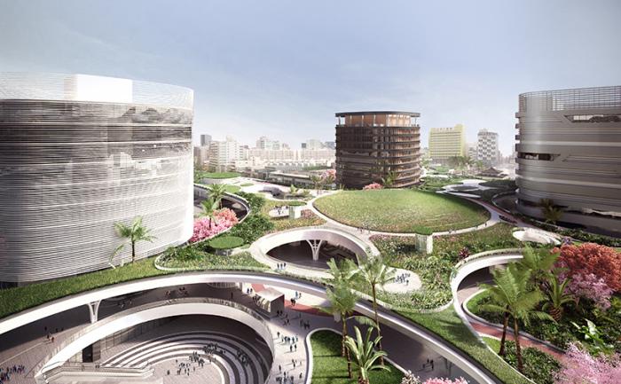 Многоярусная крыша из растений площадью 35000 кв. метров накроет транспортную развязку.