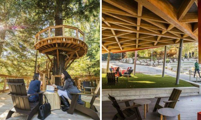 Вместо офисной мебели деревянные стулья и столики.