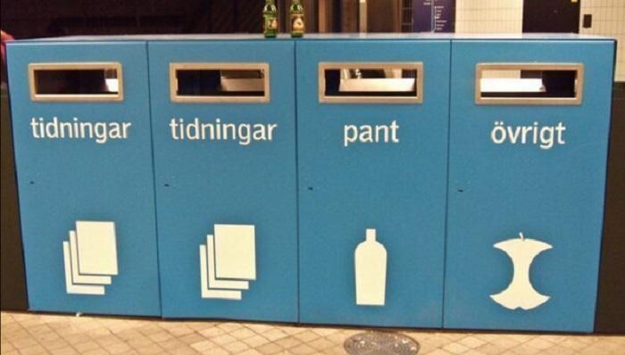 Контейнеры для сортировки мусора.