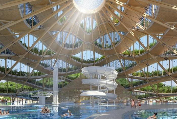Эко-павильон с бассейном.