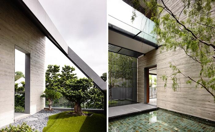 «66MRN House». Деревья посажены снаружи и внутри дома.