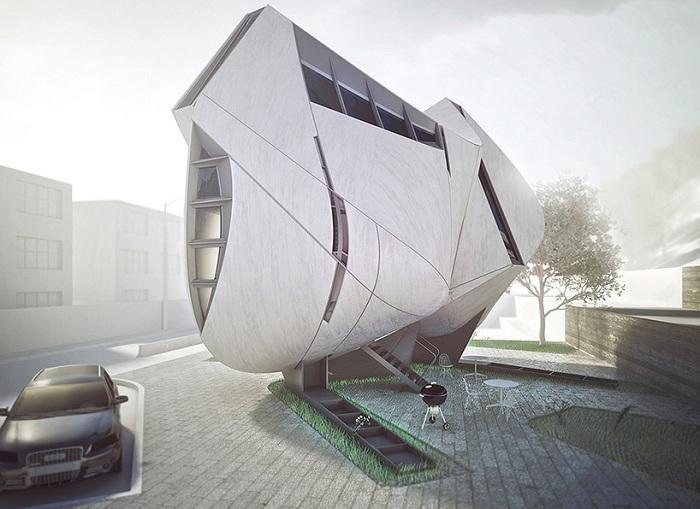Dalian House. Концепт дома с необычным фасадом.