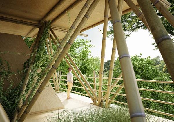 Основа отеля - бамбуковые стволы.