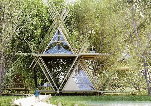 Отель, построенный из бамбуковых прутьев.