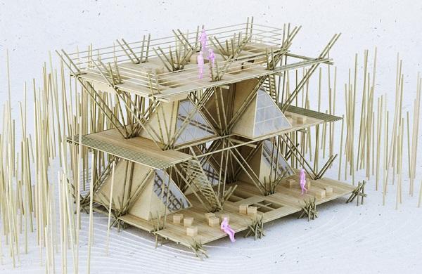 Концепт строительства бамбукового отеля.