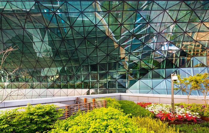Зеленые насаждения на территории Seoul New City Hall.