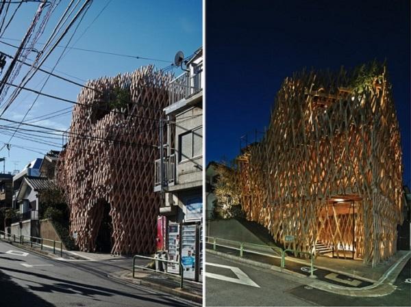 Деревянная решетчатая конструкция кондитерской.