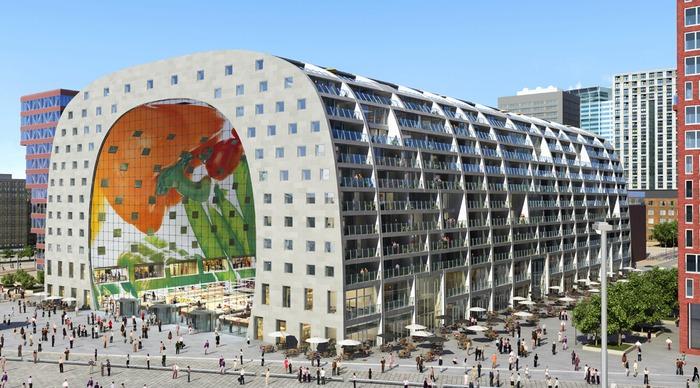 Markthal Rotterdam - гибрид крытого рынка и жилого дома.