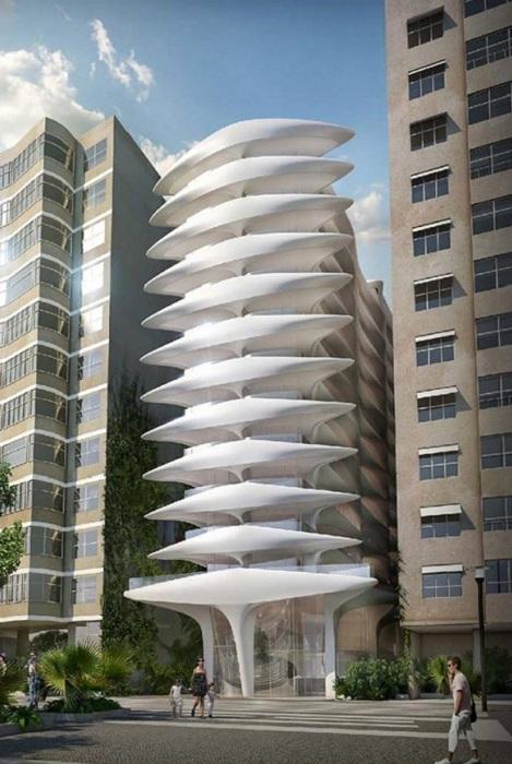«Скелетный» фасад будущего отеля в Рио-де-Жанейро.