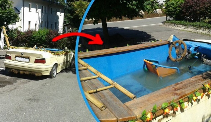 Автомобиль BMW, переделанный в бассейн. | Фото: i.imgur.com.