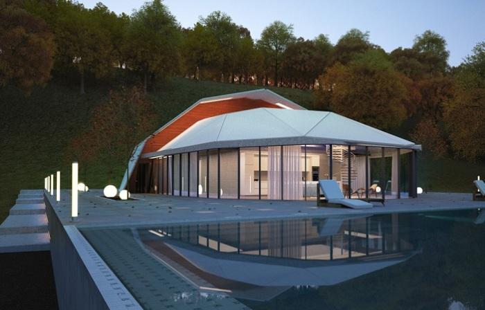 Shell house - Дом с «ломаным» навесом.