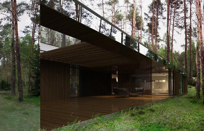 Дом в лесу, построенный архитектором Marcin Tomaszewski.