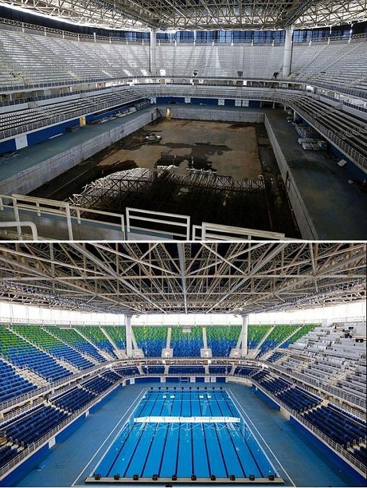 Олимпийский водный стадион, на строительство которого ушло 50 миллионов долларов полгода назад и сегодня.