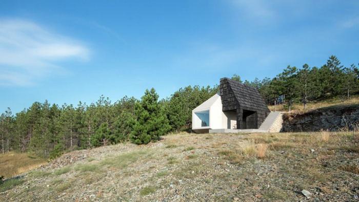 Дом с двухцветным фасадом.