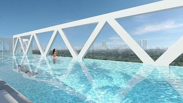 50-метровый бассейн на мосту комплекса.