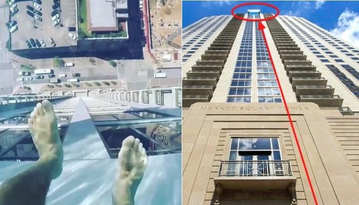 Бассейн со стеклянным дном расположен на 42 этаже небоскреба.