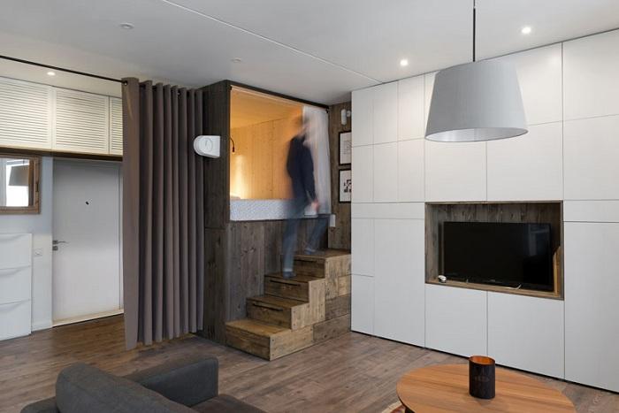 Квартира-студия в Москве площадью всего 35 кв. метров.