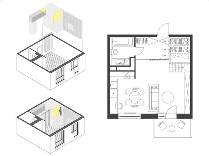 План квартиры-студии в Москве.
