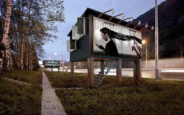 Gregory Project - проект домов для бездомных, расположенных внутри билбордов.